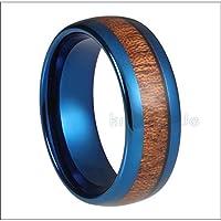 LIDAYE 6mm8mmブルータングステンカーバイドリング男性用リアルウッドインレイ女性カップル婚約結婚指輪ドームポリッシュコンフォートフィット6.58mm幅