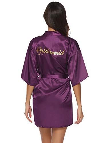 Abollria Bata para Mujer Kimono de Seda Corto para la Boda Novia Fiesta Bridesmaid Púrpura,XL