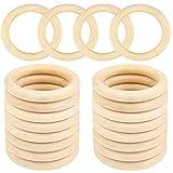 TSKDKIT 20 anillos de madera para macramé, aros de madera natural pequeños aros de madera para cortina, anillos de macramé para manualidades, joyería de bricolaje y accesorios colgantes