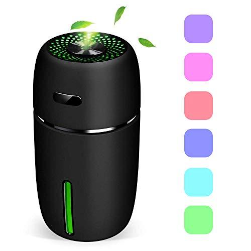 Mini USB Luftbefeuchter,200ml Raumbefeuchter mit 7 LED Farbwechse,Tragbarer Luftbefeuchter für Baby Auto Kinderzimmer Schlafzimmer Reise Büro, Einstellbarer Nebel Befeuchter (Schwarz)