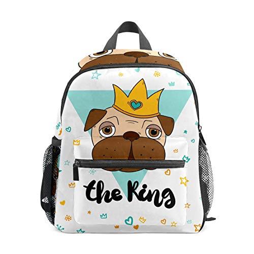 Backpack Student Bookbag for Kids Girls Boys,King Pugs Casual Daypack School Travel Bag Organizer Gift