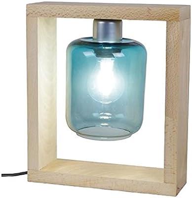 Tosel 64405Triumph lámpara madera haya maciza/vidrio soplado Natural/Azul Petróleo 250x 80x 290mm)