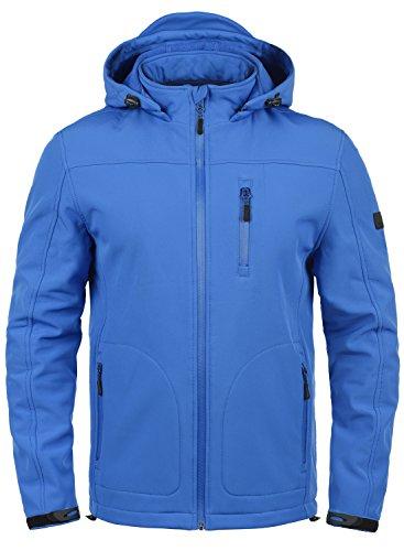 Indicode Deegan Herren Softshell Jacke Funktionsjacke Übergangsjacke Mit Abnehmbarer Kapuze Und Fleece-Futter, Größe:XL, Farbe:Cobalt