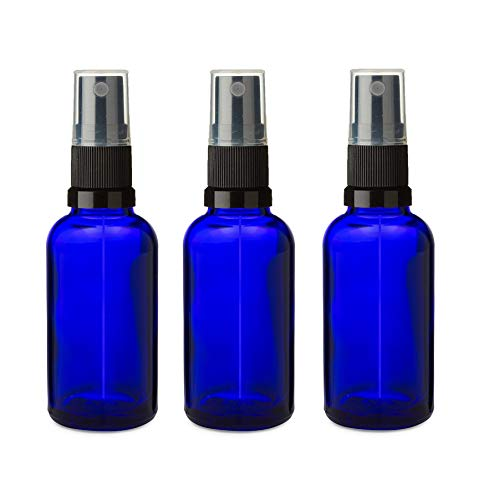 3 PCS Bouteille en verre bleu de 30 ml avec atomiseur spray NOIR, Aromathérapie, Art, Créations, Premier Secours, Voyage Répulsif Insecte Visage Spritzer etc