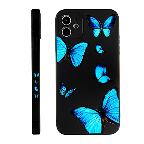 SPOBIT Compatible with iPhone 11 6.1 Inch Case, Cute Fun Butterfly Back Cover, Soft TPU Silicone Shockproof Lens Camera Protection Creative Side Pattern Phone Case for iPhone 11 - Black