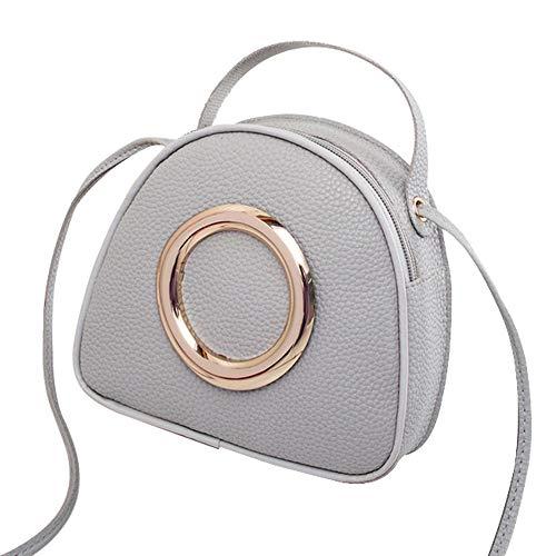 YIY vrouwen Smiley gezicht vorm PU cosmetische make-up tas handtas Crossbody tas Schoudertas voor dames 18.5 * 6 * 17cm Grijs