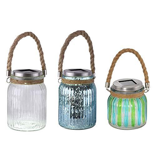 Solarlampen 3er Set für außen, wasserdichte Solargläser | LED-Einmachglas Garten-Dekoration | farbiges Solarlicht mit wiederaufladbarem Akku | Hängeleuchte in weiß mit Lichteffekt
