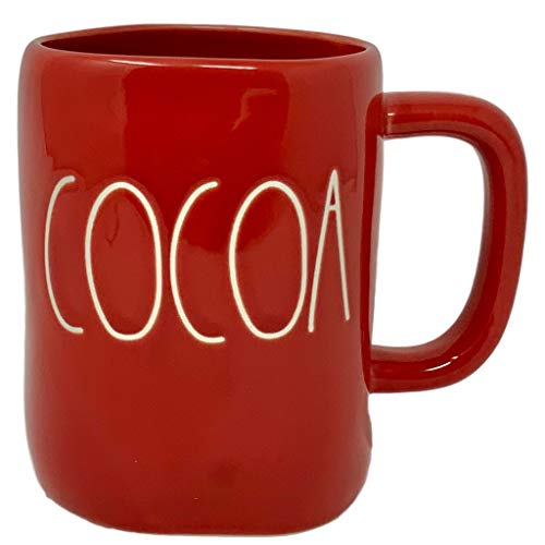Rae Dunn Red Cocoa Mug - Artisan Collection BY MAGENTA - Beautiful Red Rae Dunn COCOA MUG to enjoy your favorite hot coffee or hot tea on a cold Christmas winter morning