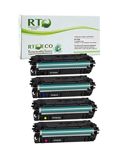 Renewable Toner Compatible Toner Cartridge Replacement for HP 508A CF360A CF361A CF362A CF363A M577 M553 (Cyan, Magenta, Yellow, Black, 4-Pack)