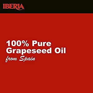 Iberia Grapeseed Oil, 34 Fl Oz, 100% Pure Grape Seed Oil, Natural & Cold Pressed Grape Seed Oil from Spain, Artisanal Grapeseed Oil for Cooking, Frying, Baking, 1 Liter, Kosher