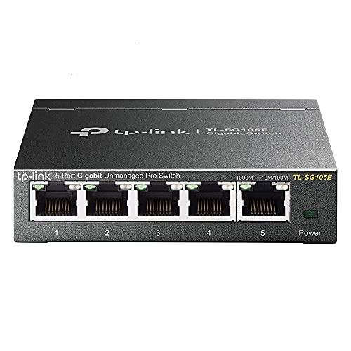 TP-Link Switch Ethernet (TL-SG105E) Gigabit 5 RJ45 Ports 10/100/1000Mbps Web Manageable, Idéal partage de connexion et mise en réseau pour les petites entreprises et les bureaux domestiques