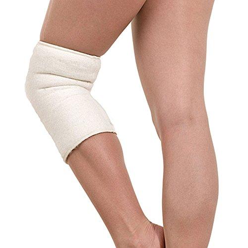 SamWo, scalda ginocchia/scaldamuscoli sensitiv Floor 100% lana merino, elastico, lavabile a 30 gradi, cucito esterno naturale L