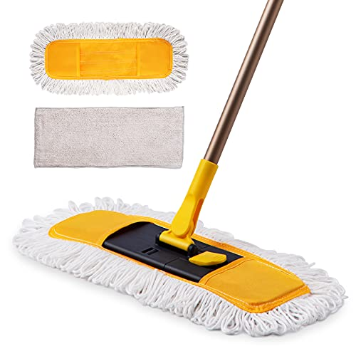 Yocada Dust Mop Microfiber Floor Mop 57 Inch Telescopic with Total 3 Mop Pads Wet & Dry Floor Cleaning for Hardwood Ceramic Marble Tile Laminate Home Kitchen