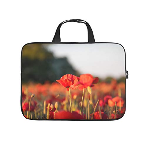 Natural Flowers Field Red Blossom Double Sided Printed Laptop Bag Protective Case Lightweight Neoprene Laptop Sleeve Bag Stylish Notebook Bag Bag with Handle