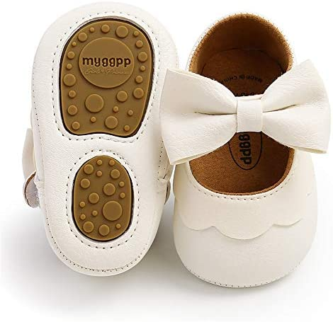 LAFEGEN Baby Girls Mary Jane Flats with Bownot Non Slip Soft Sole PU Leather Newborn Infant product image