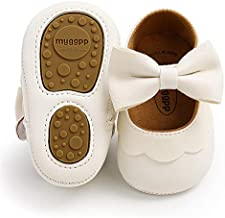 LAFEGEN Baby Girls Mary Jane Flats with Bownot Non Slip Soft Sole PU Leather Newborn Infant Toddler First Walker Cirb Dress Shoes, 6-12 Months Infant, 07 White