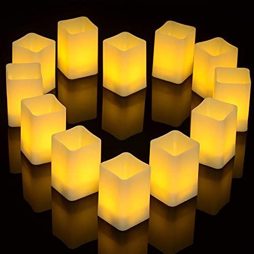 Candele senza fiamma, 12 candele LED tremolanti, luci quadrate a batteria per la casa, camere da letto, matrimoni, decorazioni per festival - bianco caldo (dimensioni piccole: 3,6 * 3,6 * 3,6 cm)