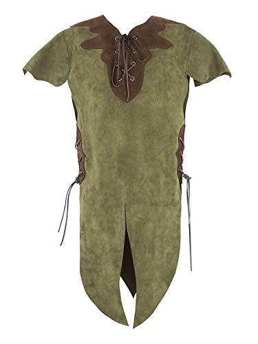 Andracor – hochwertige Kinder-Lederrüstung für Elfen, Hobbits, Knappen, und weitere kleine Geschöpfe – Grün – Größe M – individuell einsetzbar für LARP, Cosplay, Mittelalter, Fantasy