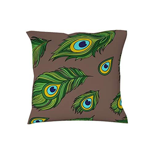 Charzee Groene pauwenpatroon huisstofmijt kussensloop sierkussen hoezen voor landhuis terras 18 * 18 inch vele kleuren en vele stijlen amandela kunst