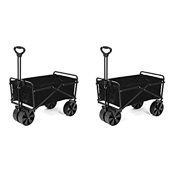 Seina Collapsible Steel Frame Folding Utility Beach Wagon Outdoor Cart  2 Pack