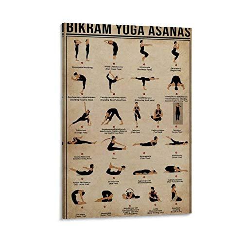 WDSHENG Póster retro de yoga Bikram Yoga Asanas Póster en lienzo y arte de la pared Impresión moderna para dormitorio familiar de 30 x 45 cm