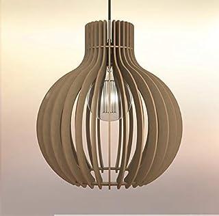 Lampadario Lampada sospensione Paralume rustico moderno in legno - Design Bulbo
