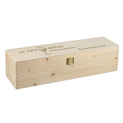 polar-effekt Weinkiste Holzbox mit Gravur – Personalisierte Geschenkbox für Weinflasche Weinpräsent – Aufbewahrungskiste Geschenk zum Geburtstag oder Weihnachten - Motiv in vino Veritas