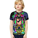 FNAF Camiseta para niños Five Nights at Freddy'S Camiseta gráfica 3D Camiseta Divertida Divertida de Manga Corta