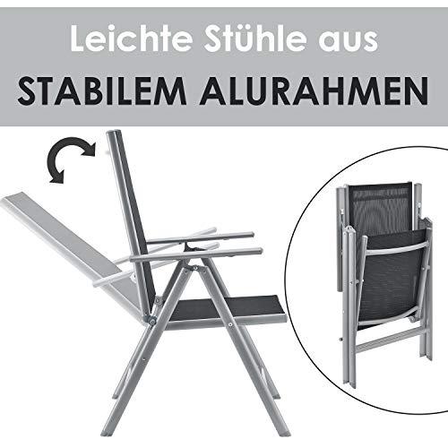 ArtLife Aluminium Gartengarnitur Milano | Gartenmöbel Set mit Tisch und 8 Stühlen | Silber-grau mit schwarzer Kunstfaser | Alu Sitzgruppe Balkonmöbel - 3