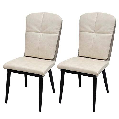 Mendler 2X Esszimmerstuhl HWC-G42, Stuhl Küchenstuhl Lehnstuhl - Kunstleder, Creme-grau