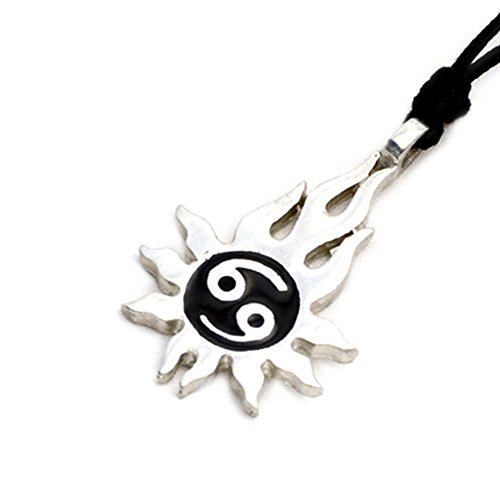 Black Sun Yin Yang Silver Pewter Charm Necklace Pendant Jewelry