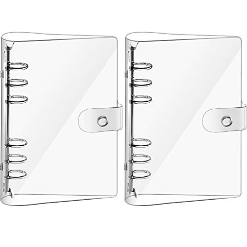 2 Pieces Transparent Soft PVC 6-Ring Binder Cover Snap Button Closure Loose Leaf Folder Notebook Round Ring Clear Binder Cover Protector Snap, Paper Not Included (A5 Size)