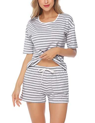 Aibrou Damen Pyjama Schlafanzug Baumwolle Kurz Streifen Nachtwäsche Nachthemd Hausanzug Set Kurzarm Rundhals-Ausschnitt für Sommer Grau L