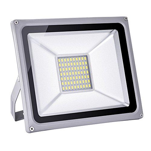 50W LED Focos Exterior, IP65 Impermeable, 6000K Blanco Frío 4000LM Super brillantes luces de seguridad al aire libre, 120 grados 80% bajo consumo y respetuoso con el medio ambiente floodlights