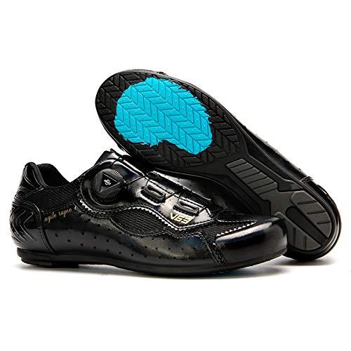 KUXUAN Calzado de Ciclismo para Hombre-Calzado de Ciclismo de Carretera Sin Bloqueo para Mujer-Calzado de Bicicleta de Montaña Calzado de Ciclismo Transpirable,Black-39EU