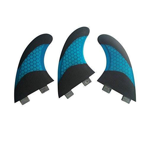 UPSURF Tabla de Surf FCS Base Aletas Fibra de Vidrio Para Surfear Tablero Aletas Thruster Set Panal de Carbono (Blue G5)