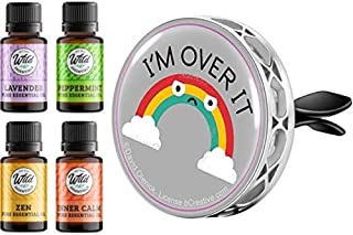 Wild Essentials - I'm Over It! Rainbow -Enamel Aromatherapy Car Vent Clip Air Freshener Essential Oil Diffuser, 8 Color Pa...