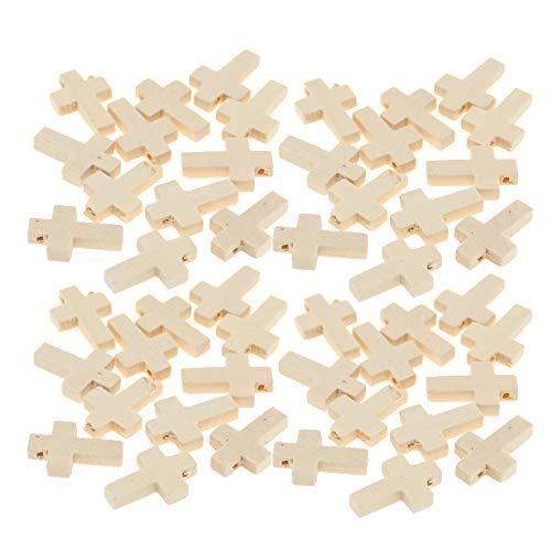 100 piezas de cruces pequeñas de madera natural sin terminar para manualidades, decoración de festivales (0.860.59) pulgadas
