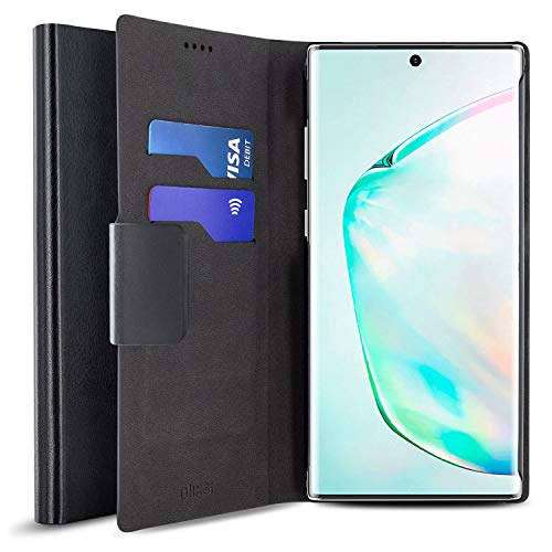 Samsung Galaxy Note 10 Plus 5G Klaphoesje / Portemonnee - Leren tasje Flip Case - Beschermhoesje om open te klappen - Leather Look / Kunstleer - Olixar PU Leather Flip Case - Vakken creditcardformaat - Ingebouwde stand openklappen - zwart