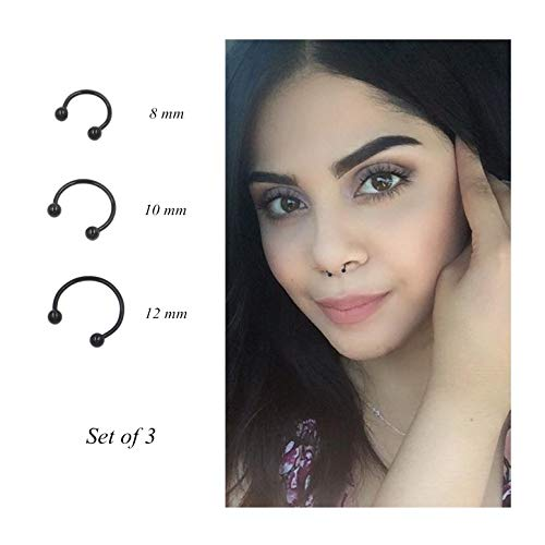 Pamido Bull Nose Ring Horseshoe Hoop Nose Rings Cartilage Earring Nose Septum Nose Nostril Stainless Steel for Women Girls Men Black
