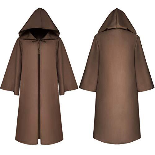 Traje de Halloween Cosplay Star Wars Jedi Guerrero Capa Adulto Niño Capa Disfraz de Escenario-Adulto 【Marrón】_S (160-165 cm de Altura)