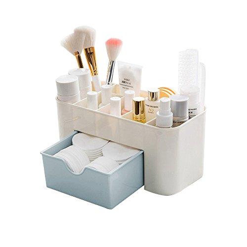 Skrivbordsmakeup organisatör lådor, BAFFECT® kosmetika förvaringsbox division kontor skrivbord skrivbord skrivbordsförvaring box smink organiserare för sovrum badrum kontor (blå)