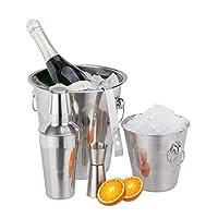 relaxdays set cocktail per alcolici,5 pz. in acciaio,pinze & secchielli per il ghiaccio,misurino,shaker 500 ml,argento