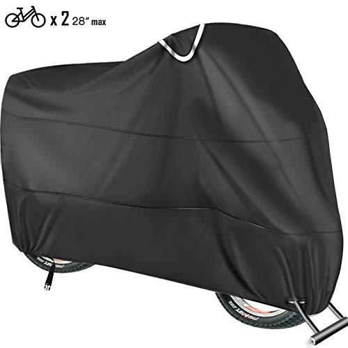 ODSPTER Fahrradabdeckung für 2 fahrräder wasserdichte 210T Oxford-Gewebe Atmungsaktives Draussen Fahrrad Schutzhülle mit Schlossösen Schutz, für Mountainbike und Rennrad