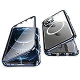 Jonwelsy Cover per iPhone 12 PRO Max, 360 Gradi Protezione Doppia Faccia Compatibile Magsafe Adsorbimento Magnetico Metallo Case Anteriore Vetro e Posteriore Matte PC Custodia per 12 PRO Max (Blu)