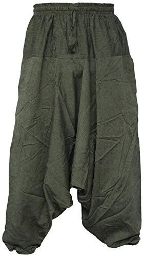Gheri - Pantaloni harem da uomo in cotone leggero Verde Large