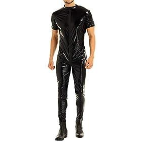 Freebily Mens Wet Look Leather Zipper Crotch Full Body Stretchy Leotard Bodysuit Catsuit Costume