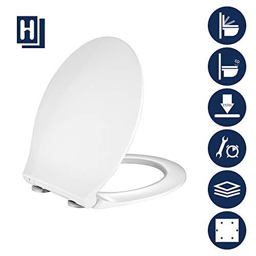 HOMELODY Toilettendeckel, WC Sitz mit Absenkautomatik und Quick-Release Funktion, PP Matieral,Antibakteriell Klodeckel O-förmiges ultradünnes Design, leicht zu montieren, weißer Toilettensitz