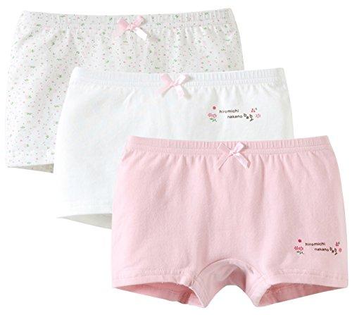 Happy Cherry - Lot de 3 Culotte Enfant Fille en Couleurs Assorties Boxer en Coton de Haute Qualité Caleçons Doux et Confortable 4-5ans