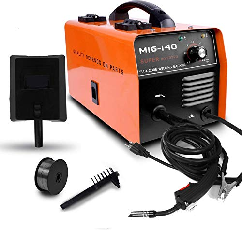 ETOSHA No Gas 140 MIG Welder 140Amp Flux Core Wire Gasless Automatic Feed Welder, Free Mask &welding gloves, 110V-Orange